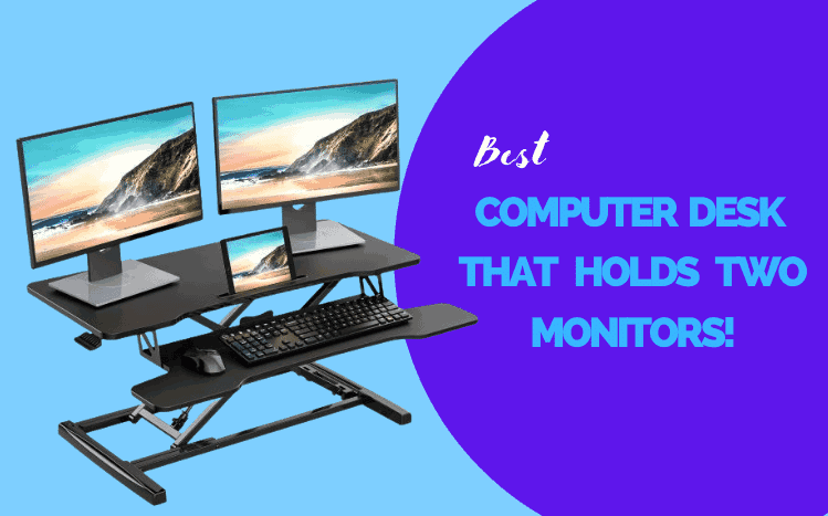 computer desk that holds two monitors
