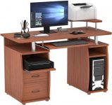 HOMCOM Multi-Function Computer Desk with Sliding Keyboard Tray, Elevated Shelf, Drawers and CPU Stand