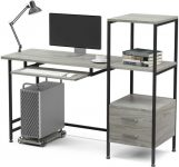 Home Office Desk Mecor Study Writing Computer Desk with Drawers and printer shelves