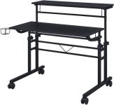 Techni Mobili Rolling rolling office desk with shelves