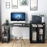 Tribesigns Black Computer Desk with printer stand