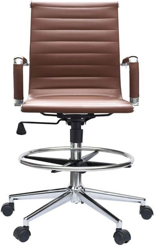 Modern Ergonomic PU Leather Mid Back Ribbed Drafting Office Chair with Chrome Armrest Foot Rest Tiltable Seat Rolling Chair (Brown)