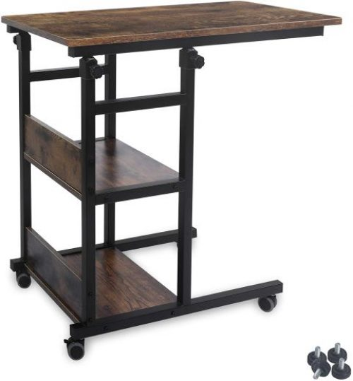 AHB Portable Side Table for Small Space with Caster Wheels and 2 Shelves, Height Adjustable Rolling End Table Writing Desk Movable PC Laptop Table Workstation for Bedroom, Living Room