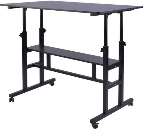 AIZ Mobile Standing Desk, Adjustable Computer Desk Rolling Laptop Cart on Wheels Home Office Computer Workstation, Portable Laptop Stand Tall Table for Standing or Sitting