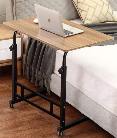 Mobile Laptop Desk Cart Rolling Cart Notebook Computer Stand Bed Table for Eating Teakby Akway
