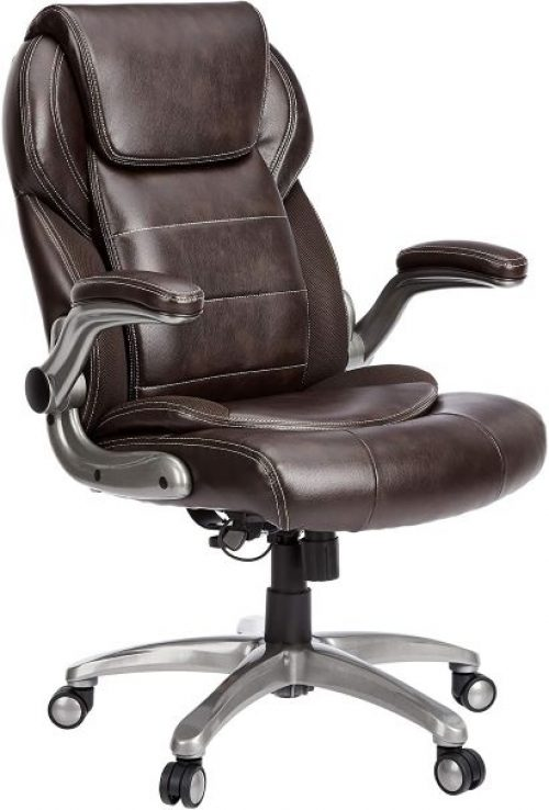High-Back Bonded Leather Executive Chair with Flip-Up Arms and Lumbar Support by Amazon commercial