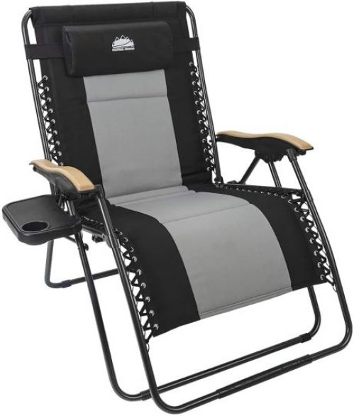 Coast rail Outdoor Oversized Zero Gravity Chair Wood Armrest Padded XXL Folding Patio Lounge Adjustable Recliner with Cup Holder & Side Table, 400lbs Weight Capacity, Black