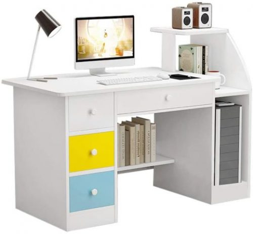 Doublelift Computer Laptop Desk with Drawer Shelf and small printer