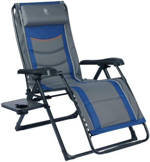 EVER ADVANCED Oversized XL Zero Gravity Recliner Padded Patio Lounger Chair with Adjustable Headrest Support 350lbs, Blue