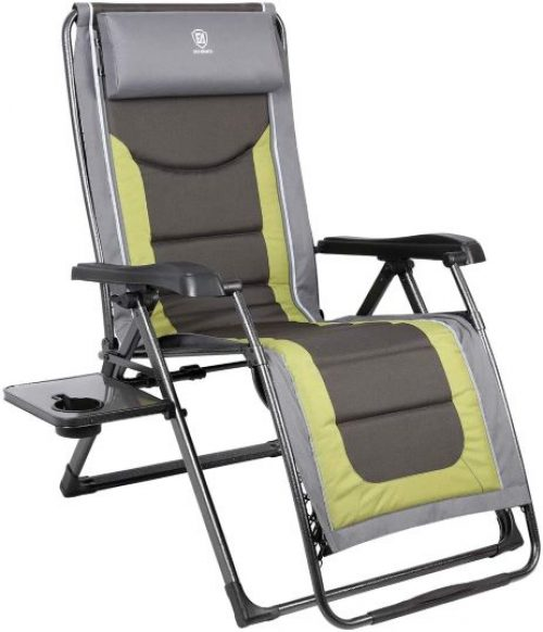 Oversize XL Zero Gravity Recliner Padded Patio Lounger Chair with Adjustable Headrest Support