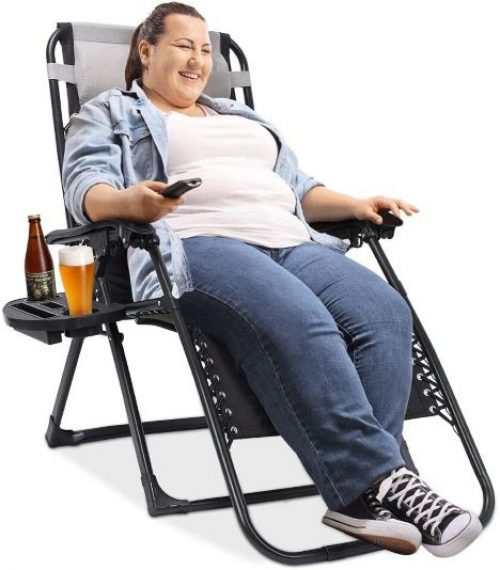 EZCHEER Padded Zero Gravity Chair, 75 inches Extra Long Patio Lounge Recliner Support 400 lbs Heavy Duty Camping Beach Chair with Cup Holder and Support Pillow