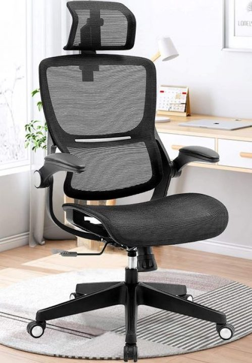 Samofu's Ergonomic Office Chairs, Mesh Desk Chair with Adjustable Headrest and Seat Height, Flip-up Armrest Executive Chair, High Back Computer Chair