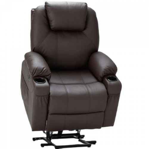 Faux Leather Electric Recliner Chair with Heated Vibration Massage, Side Pocket Cup Holder and USB Port, Dark Brown