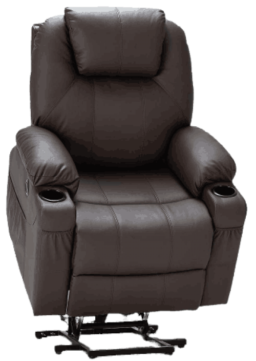 Faux Leather Electric Recliner Chair with Heated Vibration Massage, Side Pocket Cup Holder and USB Port