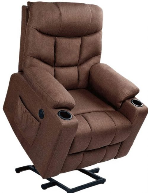 Electric Recliner for Elderly Heated Vibration Massage Fabric Sofa Motorized Living Room Chair with Side Pocket and Cup Holders