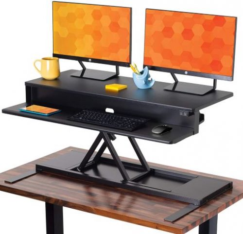 Flexpro Power 40 Inch Electric Height adjustable Stand up Desk that holds Holds 2 Monitors