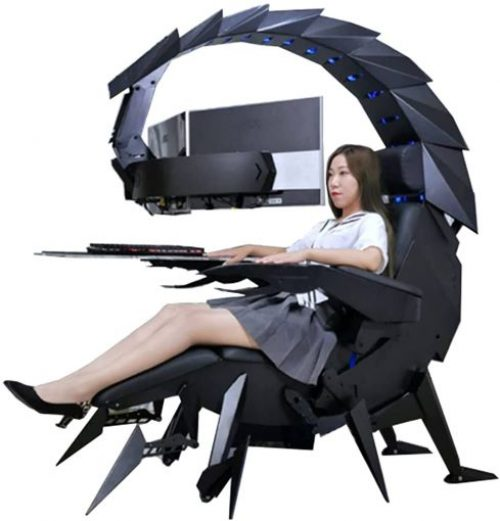 Gaming Chair with Lights and Speakers Office Cockpit Gaming Station Video Gaming Chair, Computer Table and Chair by GAXQFEI