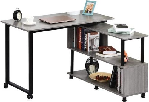 HOMCOM Mobile L-Shaped Rotating Computer Desk with Storage Shelves Moveable Rolling Writing Table Home Office Study Workstation for Home Office