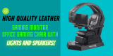 6 Best high quality leather gaming monitor office gaming chair with lights and speakers