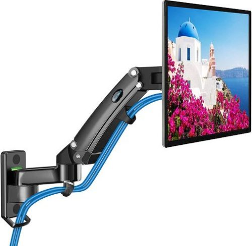 Monitor Wall Mount - Gas Spring Arm Wall Mount Stand for 24 to 35 Inch Screen, Full Motion Adjustable Vesa Bracket, Hold 6.6 to 26.4lbs