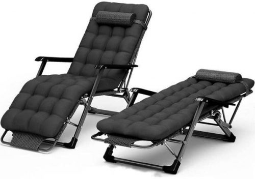 Folding Recliner Garden Chairs, Sunlounger, with pearl cotton pad,