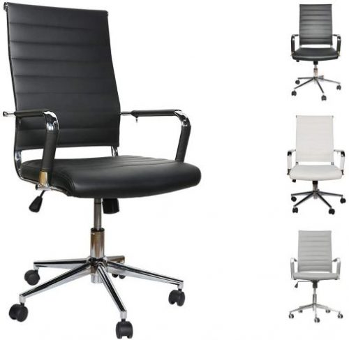 Adjustable Height Ergonomic Leather Tilt Arm Sleeves Lumbar Support High Back Executive Meeting Conference Chrome Wheel Caster 350lbs Big