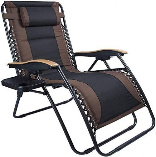 LUCKYBERRY Deluxe Oversized Padded Zero Gravity Chair XL Brown Black Cup Holder Lounge Patio Chairs Outdoor Yard Beach Support 350lbs, (Brown)