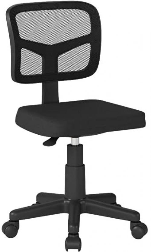 Armless Task Office Chair,MOLENTS Small Desk Chair with Mesh Lumbar Support,Ergonomic Computer Chair No Arms,Adjustable Swivel Home Office Chair for Small Spaces,Easy Assembly,Mid Back,No Armrest