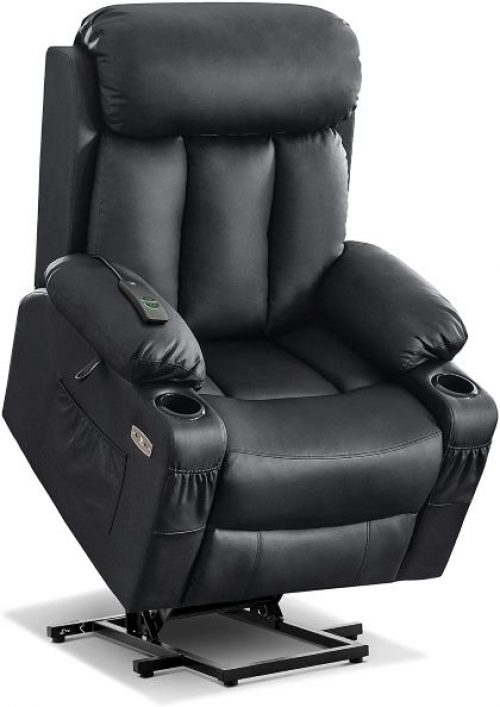 Recliner Chair with Extended Footrest for Big and Tall for Elderly People with Hand Remote Control, Lumbar Pillow, Cup Holders