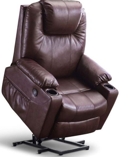 Lift Recliner Chair with Massage and Heat for Elderly Big and Tall People, 3 Positions, 2 Side Pockets and Cup Holders, USB Ports, Faux Leather 7517
