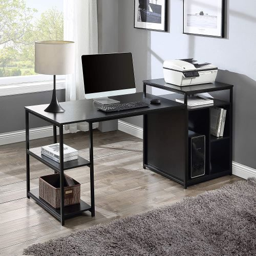 Computer Desk with printer stand and cabinet storage space, Black