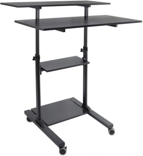 Mount-It! Wide Mobile Stand Up Desk | Height Adjustable Rolling Workstation with 40