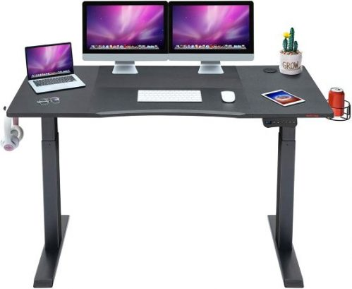 Mr IRONSTONE electric height adjustable desk that can hold two monitors with headphone hook and cable management