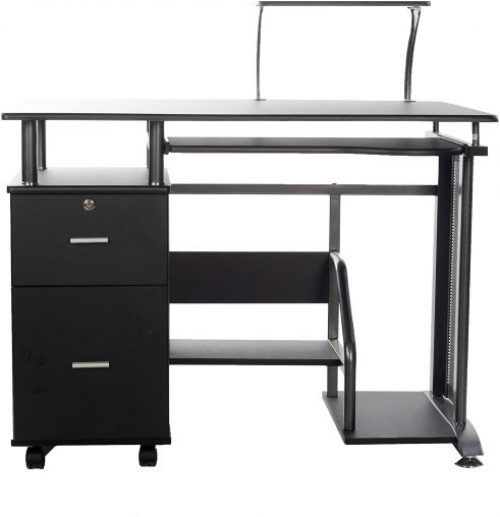 Black in color computer desk with Storage Cabinet and printer shelf