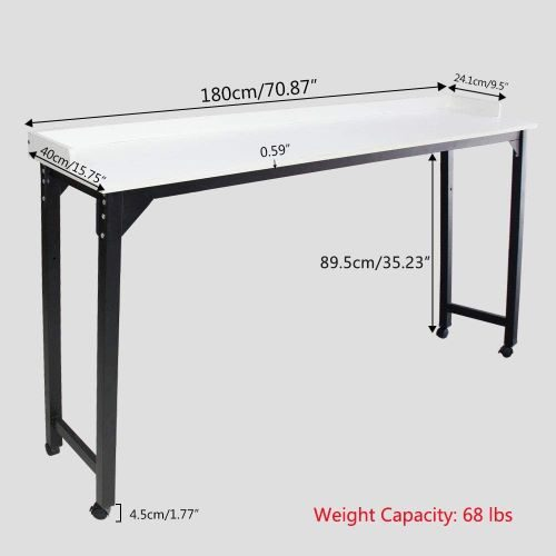 Overbed Table Laptop Desk – Bizzoelife 71 Inches Mobile Computer Desk Rolling Laptop Cart Heavy Duty Metal Leg with Wheels for Bed Sofa