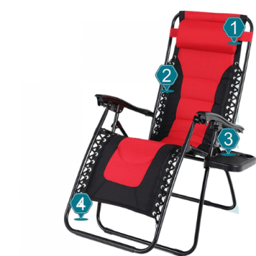 Zero Gravity Chair Padded Recliner Adjustable Lounge Chair with Free Cup Holder