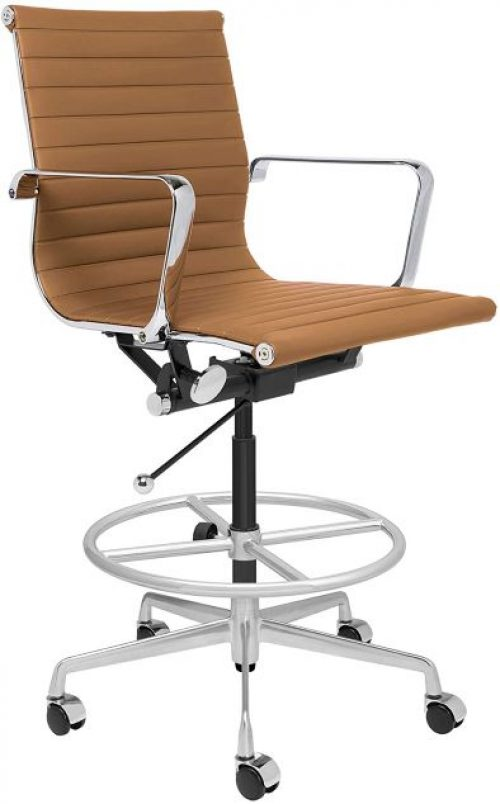 SOHO Ribbed Drafting Chair - Ergonomically Designed and Commercial Grade Draft Height for Standing Desks