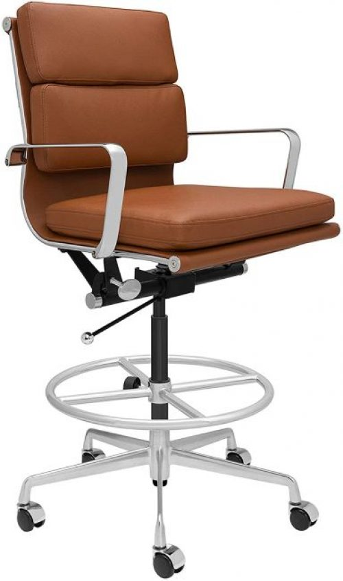 SOHO Soft Pad Drafting Chair - Ergonomically Designed and Commercial Grade Draft Height for Standing Desks