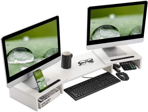 SUPERJARE Lengthened two monitor riser with 2 Extra Functional Slot for Tablet/Pen/Phone