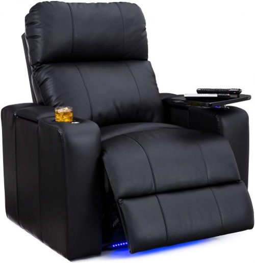 Big & Tall - Home Theater Seating - 400 lbs Capacity- Top Grain Leather- Single Recliner, Black