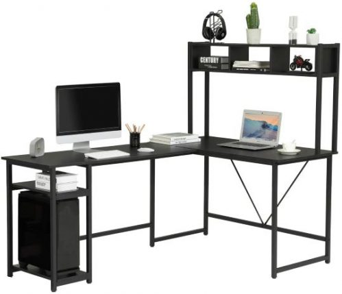 L-Shaped Desk with Hutch, Corner Computer Desk with Storage Shelves, Study Writing Table Desk Workstation with Bookshelf & CPU Stand, Large Home Office Desk