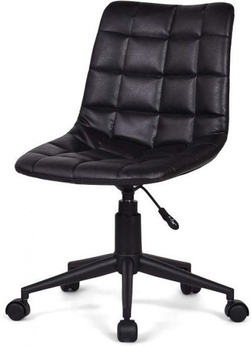 SIMPLIHOME Chambers Swivel Adjustable Executive Computer Office Chair in Distressed Black Faux Leather, for the Office and Study, Contemporary