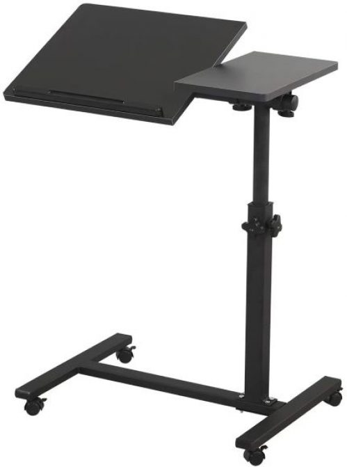 Overbed Bedside Desk Mobile Rolling Laptop Stand Tilting Overbed Table with Wheels Height Adjustable by TigerDad