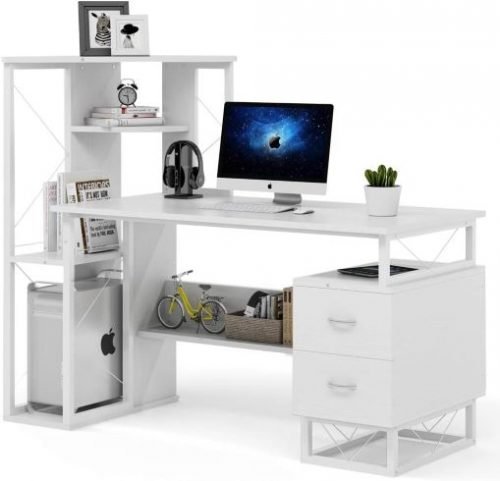 Tribesigns Computer Desk with Drawers, Functional Writing Desk with Corner Tower Shelves Works as Home Office Compact Workstation Desk for Small Space