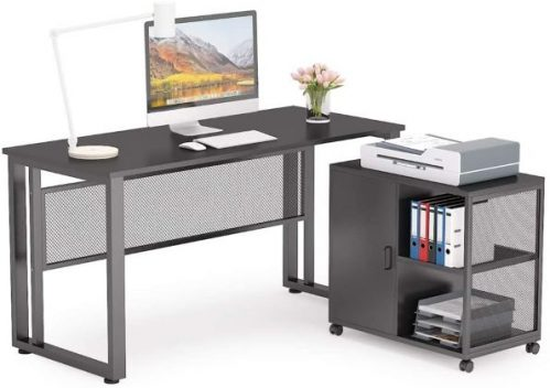 L-Shaped Executive Desk Business Furniture with 27.5 inch File Cabinet Storage Mobile Printer Filing Stand for Home Office Desk