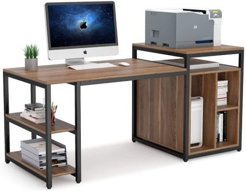 Tribesigns Large Computer Desk with printer shelve and storage