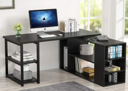 Tribesigns Rotating Corner Computer Desk with Bookcase, printer shelf and File Cabinet