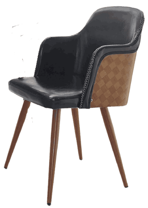 Volans Mid Century Modern Leather Upholstered Accent Chair, Bentwood Back and Wood Finish Metal Legs Armchair for Home Office Living Room Bedroom