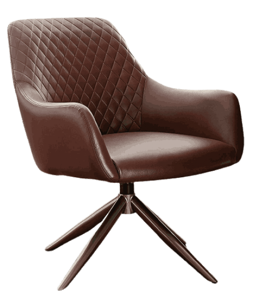 Volans Modern Mid Century Swivel Faux Leather Home Office Chair No Wheels with Arms for Small Space Living Room Bedroom Desk