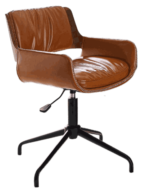 Volans Faux Leather Office Chair Mid Century Vintage Swivel Office Desk Chair, No Wheels, Adjustable Height Task Chair with Armrest, Brown